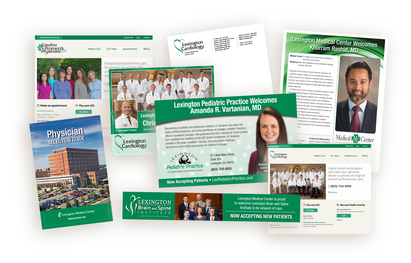 Collage of hospital marketing materials including websites, physician selection guide, direct mail, forms and letterhead featuring practice teams, services and individual physicians.
